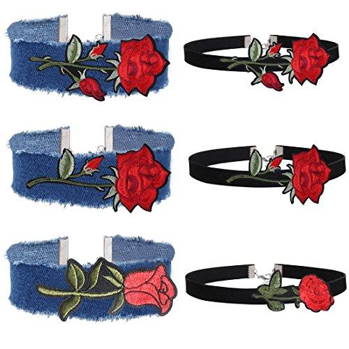 Kostüm Und Ball Kette Zubehör (Tpocean 6 Stück Denim Jean Choker Halsband Set Gotische Wildleder Choker Halskette Red Rose Blume Stickerei)