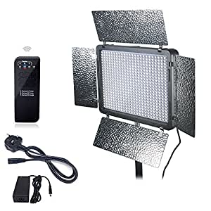 Mcoplus LE-520 LED Light 528PCS LED Lamp 3500LM 3200K or 5500K Color Temperature Video LED Light with 2.4Ghz Wireless Remote Control And Intelligent Cool Fan for Canon Nikon Sony Panasonic Olympus Pentax & DV Camera Comcorder