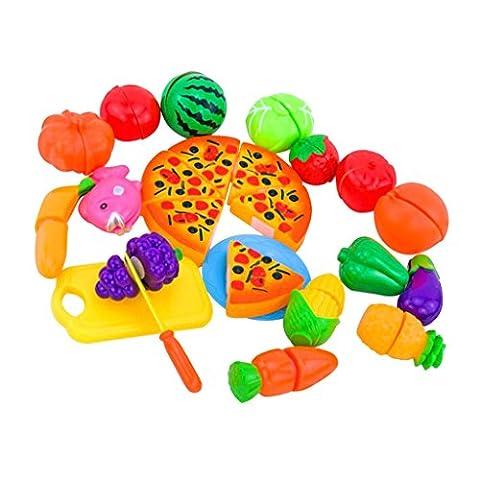 MagiDeal Kinder Rollenspiel, Früchte Gemüse Pizza Schneiden Spielset (24pcs) (Küche Pretend Spielset)