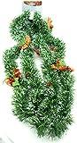 Tannengirlande - Deko-Girlande - Weihnachtsgirlande - Weihnachten - Weihnachtsdeko - Weihnachtsdekoration - Girlande - Künstlich - grün-weiß - mit Beeren und Zapfen - 260 cm