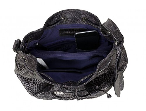 FREDsBRUDER Croco Loco Hobo sac en cuir avec cordon de serrage (26 x 26 x 14 cm) Marron (Dark Chocolate)