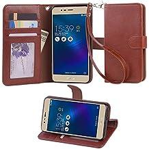 VIFLYKOO ASUS Zenfone 3 Max ZC520TL Funda, ASUS Zenfone 3 Max ZC520TL Carcasa Flip Cover con Pulsera Case para ASUS Zenfone 3 Max Smartphone Case - Marrón