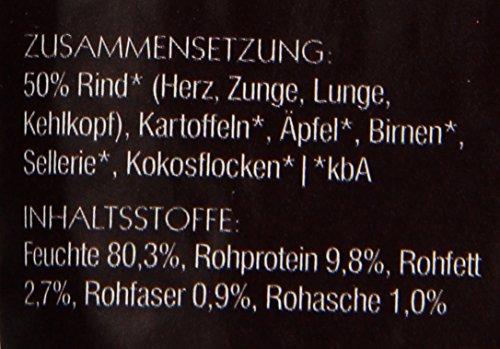 Herrmanns Rind Menu 1 mit Kartoffel, Apfel, Birne, Sellerie, Kokosflocken 130g Bio Hundefutter, 12er Pack (12 x 130 g) -