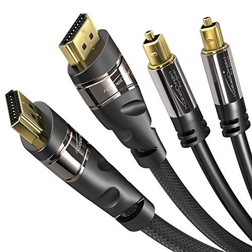 KabelDirekt - HDMI TOSLINK Bundle - 1,5m - (HDMI Kabel, HDMI 2.0a/b, 2.0, 1.4a , Optisches Toslink Digital, Kabel, Toslink - Toslink) - PRO Series -
