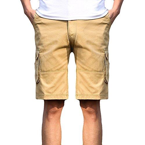 UJUNAOR Herren Cargo Hose Cargo Pants Unifarbe Arbeitshose Cargohose Cargopants Shorts(Khaki,35)