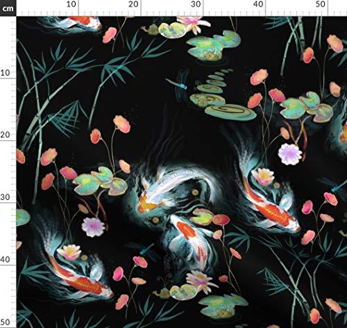 Japanisch, Garten, Schwarz, Koi, Frösche, Japanischer Garten Stoffe - Individuell Bedruckt von Spoonflower - Design von Designed By Debby Gedruckt auf Leinen Baumwoll Canvas