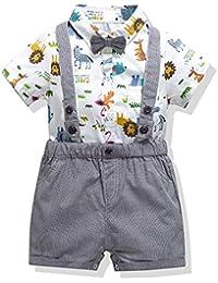 53e982c8c ZOEREA 4pcs Ropa Bebe Niño Conjuntos Camisas Estampada Animal de Manga  Corta con Pajarita + Vaquero