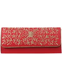 Mela Partywear Golden Embroidered Clutches For Women - Red (Size Large)