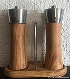 Zassenhaus Pfeffermühle und Salzmühle Set Augsburg Olivenholz 18 cm mit Menage