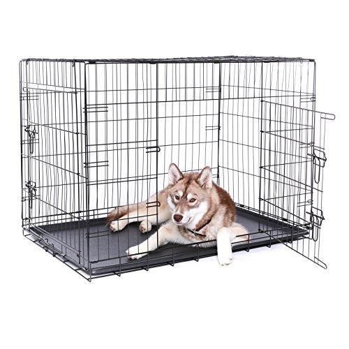 dibea DC00495 Transportkäfig für Hunde und Kleintiere, Stabile Box aus Kräftigem Draht, Faltbar/klappbar, 2 Türen, mit Bodenwanne, Größe XXXL