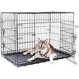 dibea DC00495 Transportkäfig für Hunde und Kleintiere, stabile Box aus kräftigem Draht, faltbar / klappbar, 2 Türen, mit Bodenwanne, Größe XXXL