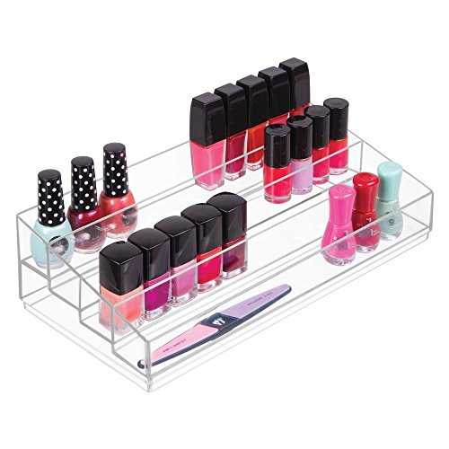 mDesign Kosmetik Organizer praktische Schminkaufbewahrung mit 3 F/ächern durchsichtig transparenter Schmink Organizer stapelbar