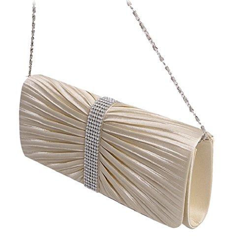 Dairyshop Donna Satin Diamante ha pieghettato il nero della borsa da sposa della borsa da sposa della frizione di sera (Nero) Albicocco