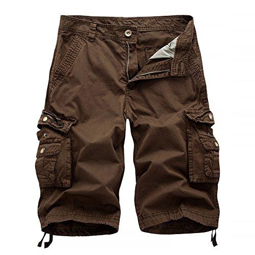 AYG Cargo Shorts Herren Bermudas Baumwolle Shorts Freizeit Sport 30-40 (W34(DE 50/L)/Taille:86-91cm, Kaffee # A082)