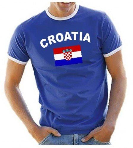 Coole-Fun-T-Shirts Herren T-Shirt Ringer, Blau, L, 10888_Kroatien_HERI (Kroatien-fußball-t-shirt)