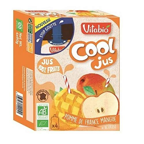 Vitabio - Cool Fruits Apfelsaft, Mango, Acerola 400ml - Lot von 3 - Preis pro Los - Schnelle Lieferung