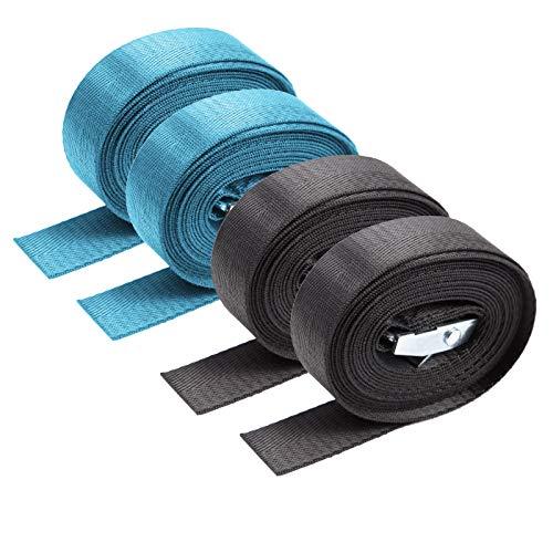 SurePromise 4 x 2,5 cm verstellbare Spanngurte mit Ratsche belastbar Spanngurte Ladungsspanngurt Zurrgurt Cam-Lock-Schnalle Fahrradträger Auto Cargo Anhänger (Schwarz, 2 x Blau) -