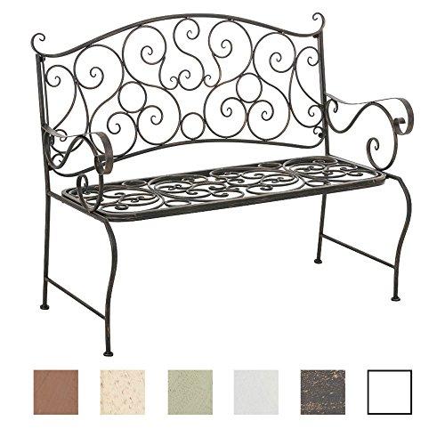 CLP Metall Gartenbank TUAN, 2-er Sitz-Bank Garten, Eisen lackiert, Design nostalgisch antik, 105 x 50 cm Bronze