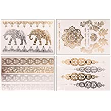 4 Goldtattoo Sheets im Set | Flashtattoos, Metallic Tattoos | Original POSH Tattoo® (Gold/Silber)