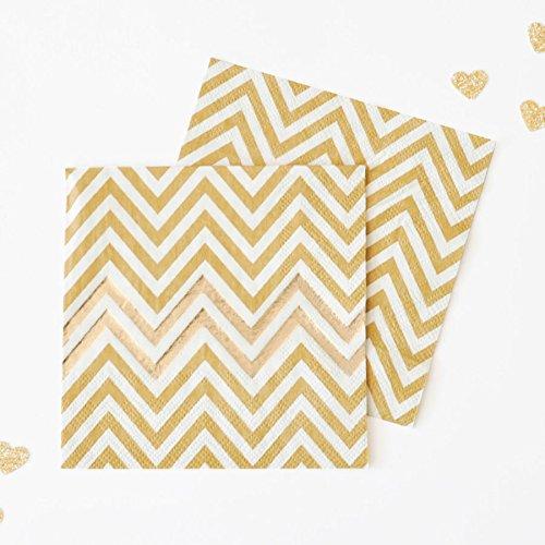 10 Or & Blanc Chevron de Fête de serviettes de papier