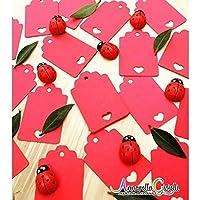50 pezzi, CARTELLINI cuore rosso VUOTO per matrimoni, 3x4,6 cm, carte regalo Tag, Tag fai da te, etichetta bagagli, etichetta prezzo, cartellini kraft con cuore, laurea, compleanno tag cuore rosso