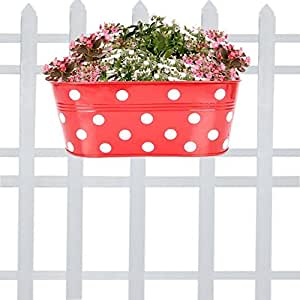TrustBasket Dotted Oval Railing Planter - RED