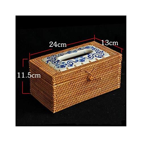 GLJSN Vintage Tissue Box handgewebtes Papier Tube Box Desktop Aufbewahrungsbox Persönlichkeit Tee Haus Auto Wohnzimmer Schreibtisch Finishing Box Dekoration