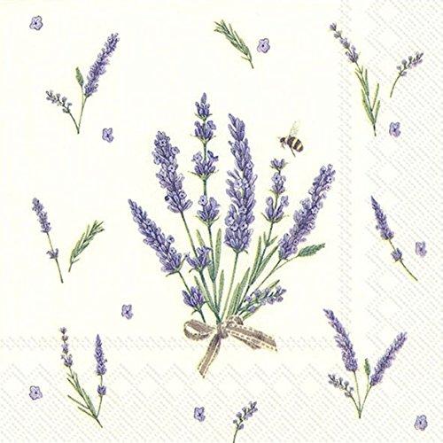 Bouquet von Lavendel cremefarben Papierservietten Serviette 20Stück 3-lagig, 25 x 25 cm