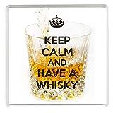 """Kühlschrankmagnet mit Spruch """"KEEP CALM and HAVE A WHISKY"""" auf einem Bild mit einem Glas WhiskyFür Whiskyliebhaber"""