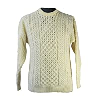 Aran Woollen Mills Carraig Donn Traditional Aran Sweater , Beige Natural, L