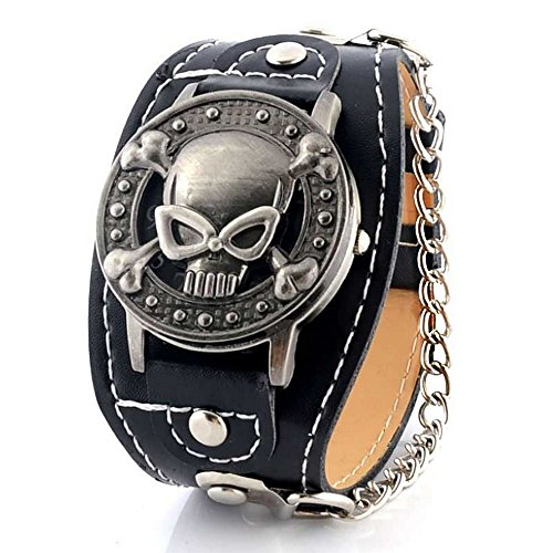 BOBIJOO Jewelry - Montre Tête de Mort Skull Bracelet Cuir Crâne Acier Look Gothique Rocker Biker