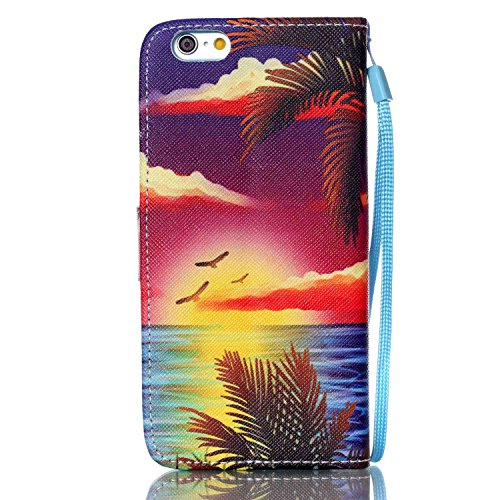 iPhone 6S Plus Hülle, iPhone 6 Plus Hülle, ISAKEN iPhone 6S Plus /6 Plus Hülle Muster, Handy Case Cover Tasche for iPhone 6S Plus / 6 Plus, Bunte Retro Muster Druck Flip Cover PU Leder Tasche Case Sch Bunte Sonnenaufgang Coco Meer Adler