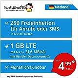 DeutschlandSIM LTE 750 National [SIM, Micro-SIM und Nano-SIM] monatlich kündbar (1 GB LTE mit max. 21,6 MBit/s inkl. deaktivierbarer Datenautomatik, 250 Freieinheiten für Anrufe oder SMS, 4,99 Euro/Monat)