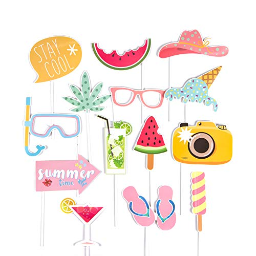 SUNBEAUTY Sommer Fotorequisiten Booth Props Hawaiian Strand Party Foto Requisiten (Summer time 14er Set)