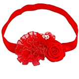Ziory 1 Pcs Red Aureate Flower Hair Accessories Pearl Chiffon Flowers Kids Hair Elastic Band Newborn rose Flower Headband for baby girls
