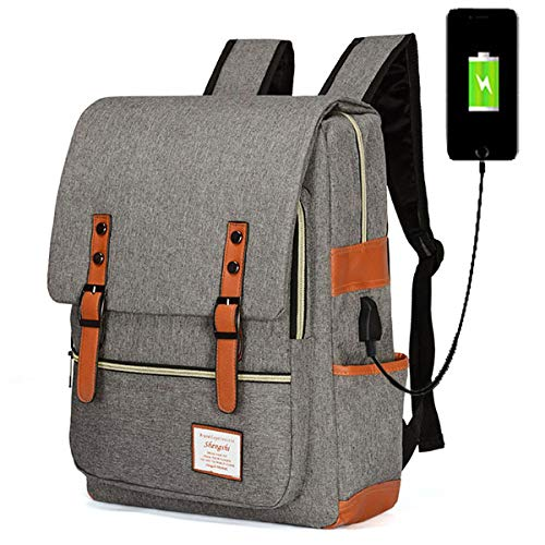 Kraptick Canvas Vintage Backpack for Laptop, Canvas VintageTravel Backpack for Women Men, Canvas Vintage School College Backpack Fits 15 inch Notebook (USB Grey)