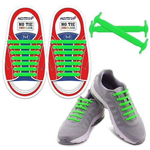 HOMAR Kinder No Tie Shoelaces - Best in No Tie Schnürsenkel Ersatz Zubehör - Elastische Gummi Athletisch Flach Schnürsenkel für Sneaker Stiefel Oxford und Freizeitschuhe - Grün