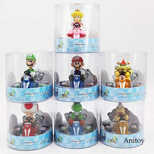 Yvonnezhang Super Mario Bros Wii Mario Kart Figure Luiji Pêche Bowser Toad Donkey Kong Yoshi Pull Back Racers Voiture Jouets 7 Styles 8cm, 1lot