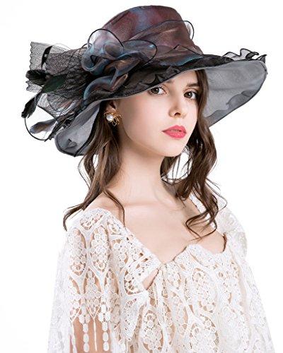 Derby Hüte für Damen Urlaub Organza Fascinator Britische Tee-Party-Hochzeits-Kleid-Kappe Mysterious UPF 50+ Schwarzes (Derby Hut Kleid,)