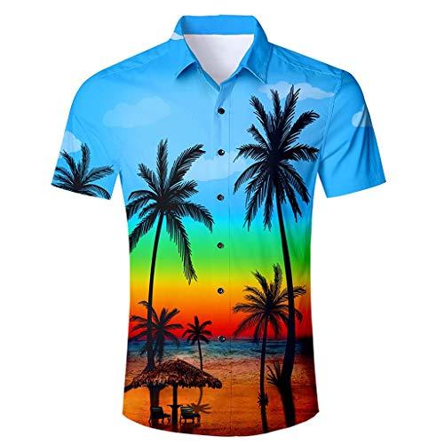 Herren Hawaiian Slim Fit Hemd 3D Print Strandshirt Kurzarm Urlaub Bluse Sommer Button-Down-Shirts Graphic Shirts Tops XXL mehrfarbig