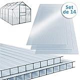 Deuba Plaque de Polycarbonate Creux 10,25 m² (Soit 14 unités) | Plaques à Double paroi, 4mm d'épaisseur