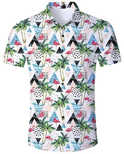 ALISISTER Flamingo Hemd Hawaiihemd Herren Beiläufig Button Down Kurzarm Bunt Hawaii Hemd Lustig Strand Party Kleidung für Herren Erwachsene XXL