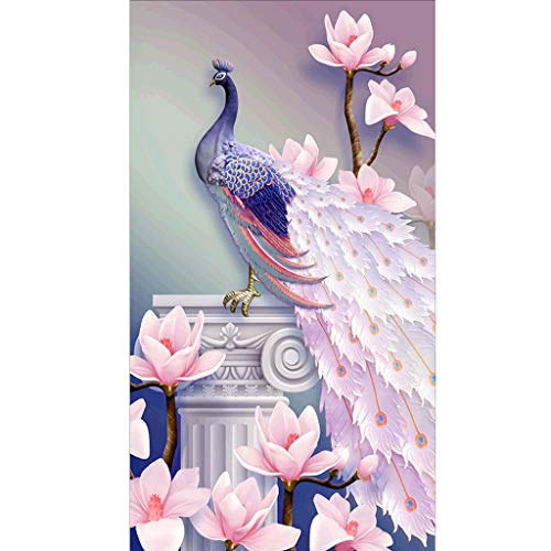 5D Diamantmalerei, wuayi rosa Pfau DIY 5D Diamantmalerei Teil-Bohrer Kristall Stickerei Strass eingefügte Bilder Kreuzstich Kit für Home Wall Decor, B:30x40cm, ()
