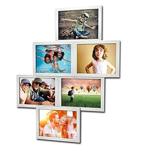 Fotogalerie für 6 Fotos 13x18 cm - 3D 603 Optik - Bilderrahmen Bildergalerie Fotocollage Rahmenfarbe Silber