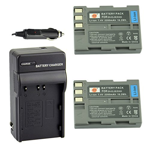 DSTE 2pcs EN-EL3E Li-ion Battery + Charger DC11 for Nikon D30 D50 D70 D70S D90 D80 D100 D200 D300 D300S D700 Digital SLR Camera  available at amazon for Rs.3810