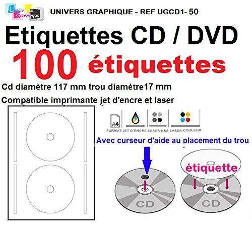 CD- / DVD-Etiketten, selbstklebend, Durchmesser 117mm + Loch (17mm), 2Etiketten pro Blatt, geeignet für Tintenstrahl- / Laserdrucker, 100 St.