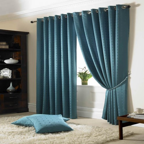 Madison Lined Eyelet Ring Top Curtains Teal 66×54