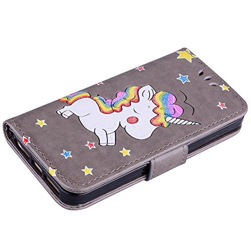Custodia per iPhone 5S / SE / 5, ESSTORE-EU Unicorn Design Premium Custodia in PU Pelle con Custodia Innominale Soft TPU, Unicorn Carino con Bling Bling Glitter Charming Scintillante Stella [Marrone] Grigio