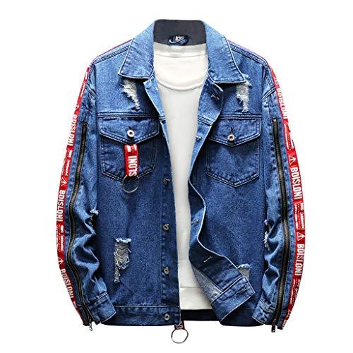 Writtian Wash Distressed Jeansjacke Herren Revers Vintage Jeansjacke Einfarbig Lose Casual Patches Sweatshirt Jacke Sweatjacke Jugend College Jacke Hip-Hop Jacke