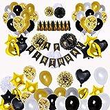 BRT Décorations de fête en noir et or (90pcs) Bannières de joyeux anniversaire Ballons 18ème 20ème 30ème 40ème 50ème 60ème 70ème Décorations d'anniversaire Ballons d'anniversaire...